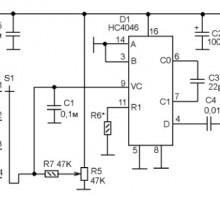 Генератор плавного диапазона на микросхеме HC4046