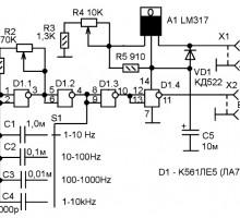 Генератор логических импульсов 1Гц-10кГц