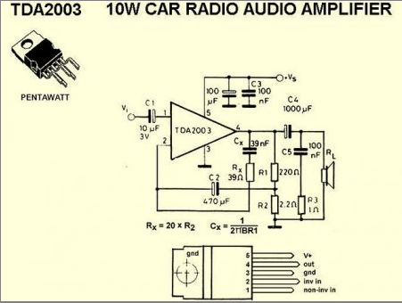 Микросхема TDA2003 усилитель