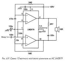 LM2879, усилитель, микросхема, выводы, цоколевка