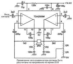 TDA2005 схема включения усилителя