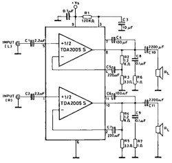 TDA2005 схема включения тереоусилителя мощности