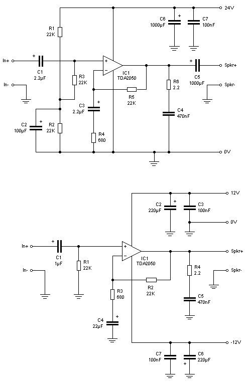 TDA2050 электрическая схема
