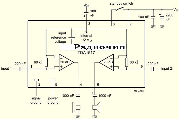 микросхему TDA7265, схему