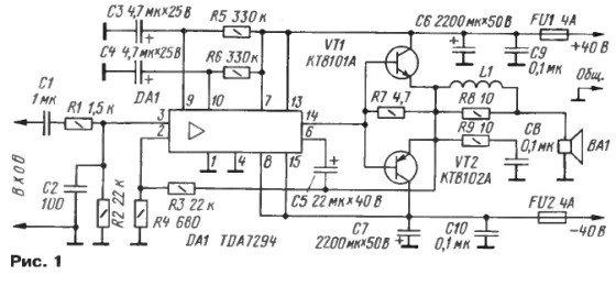 Схема усилителя звука на микросхеме TDA7294