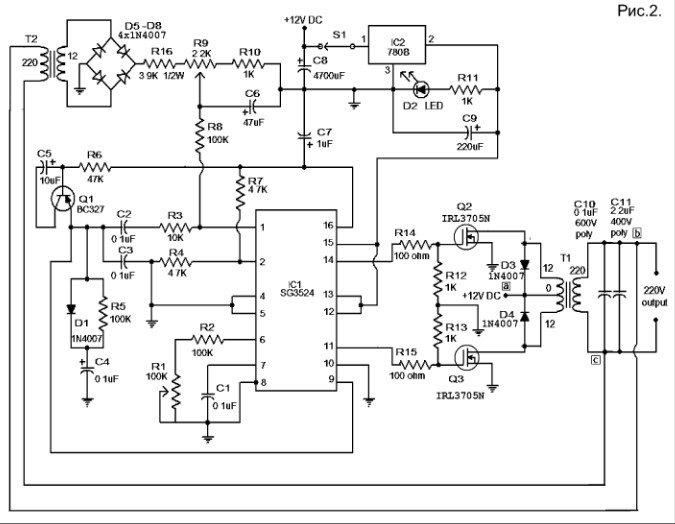 Схема преобразователя выполнена на генераторе, создающем симметричные импульсы, следующие противофазно и выходного блока реализованного на полевых ключах, в нагрузку которым подключен повышающим трансформатором.