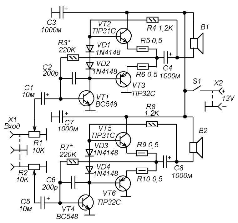 Схемы усилителей для компьютерной