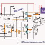 Схема инвертора 12В-220В на ШИМ контроллере TL494