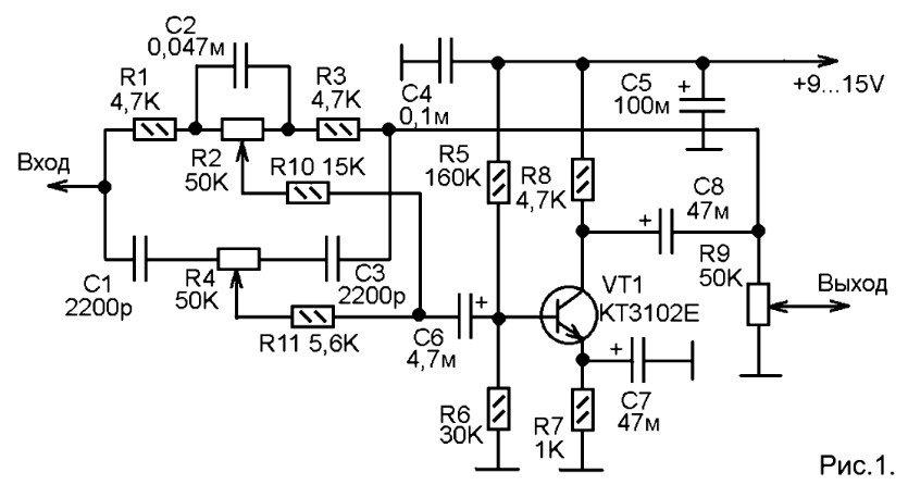 Схема предварительного усилителя на транзисторе ...