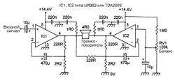 ИС LM383 усилителя мощности звуоковой частоты