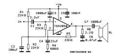 TDA2050 Подключение от однополярного источника питания