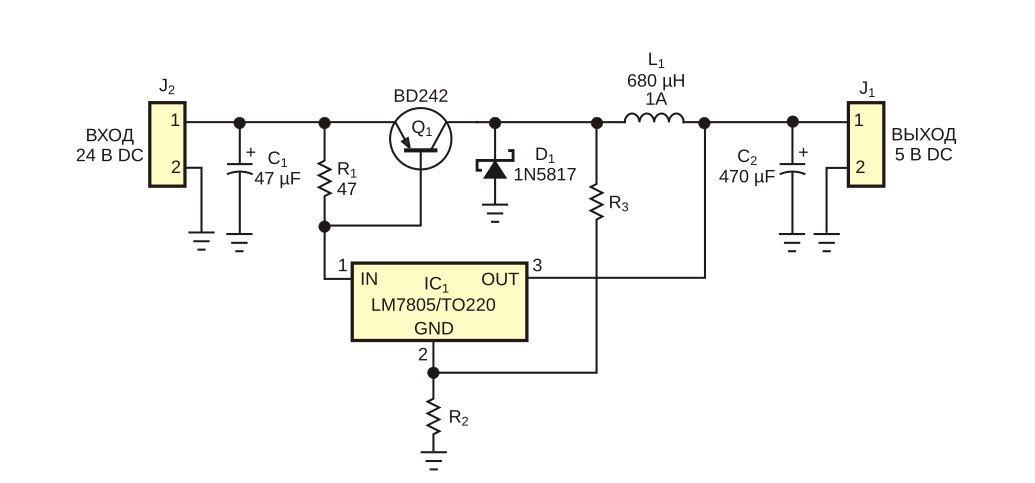 Стабилизатор напряжения на LM7805